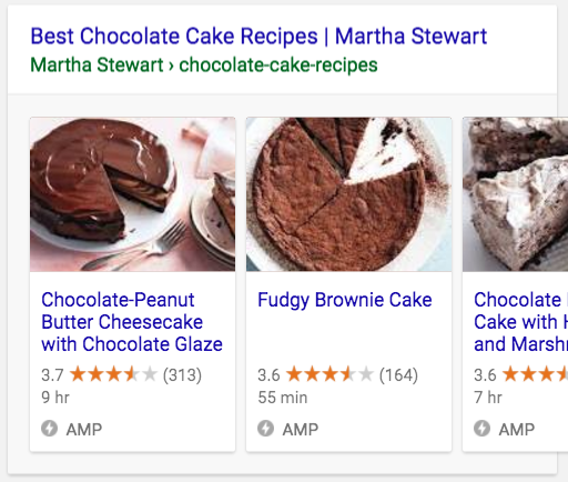 How AMP results display in search results