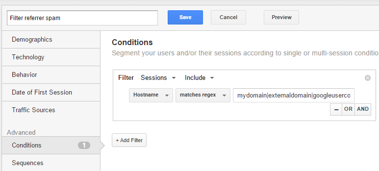 Google Analytics - referrer spam filter segment