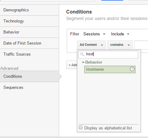 Google Analytics - advanced segment conditions