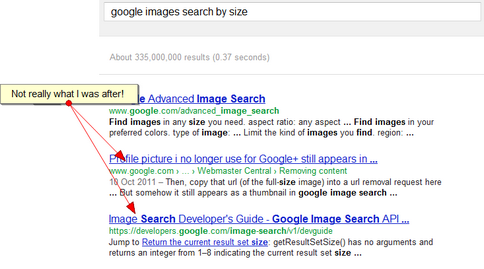 "SEarch for ""google images search by size"" without verbatim"