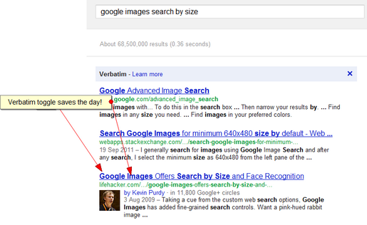 "Search for ""google images search by size"" with the verbatim option"