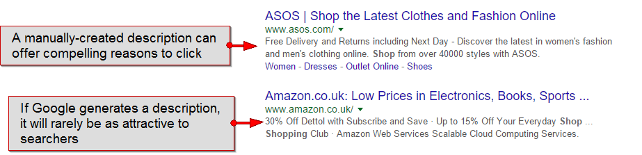Example of manually-written meta description vs. one generated by Google